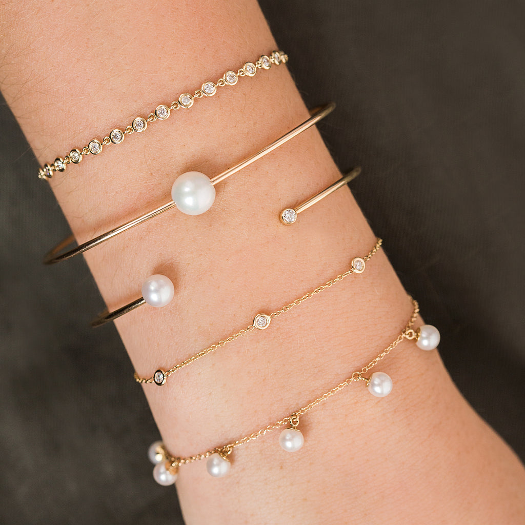 14k single pearl cuff