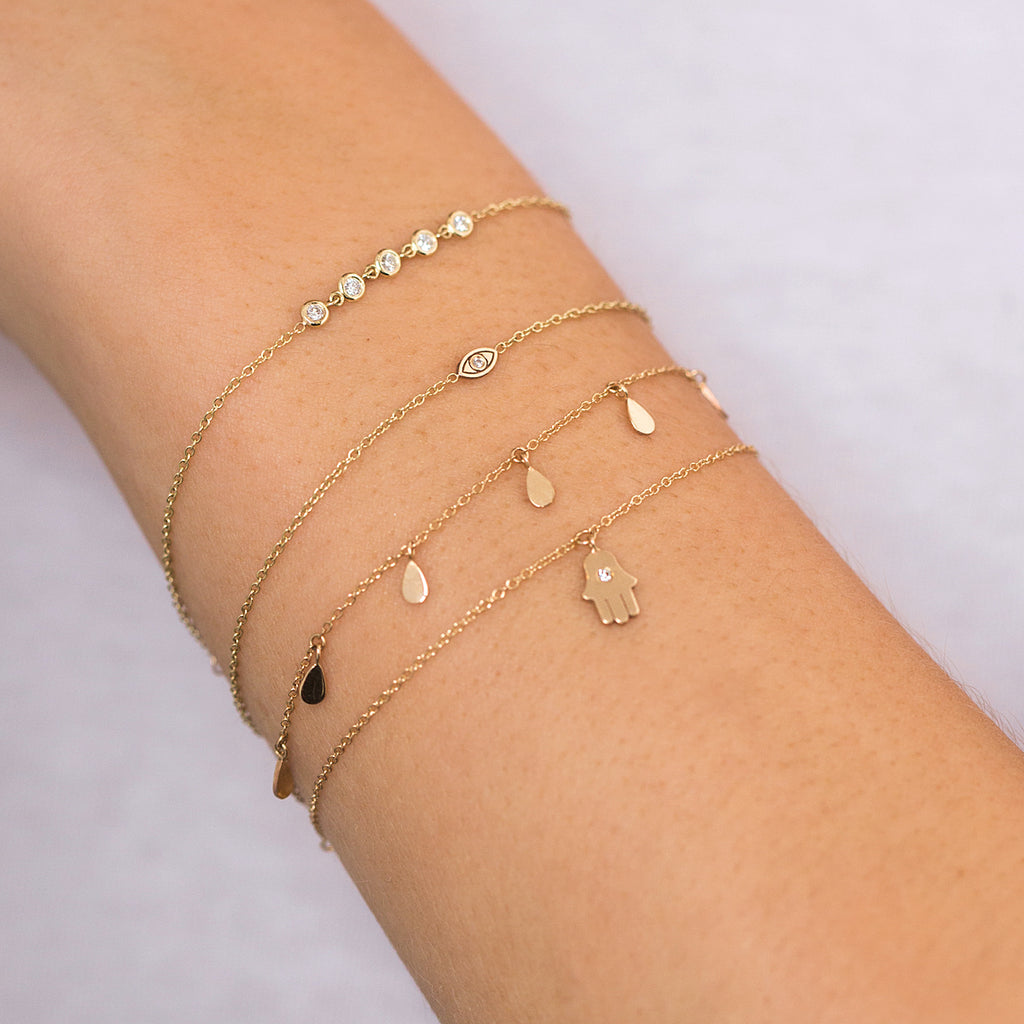 Zoë Chicco 14kt Yellow Gold White Diamond Itty Bitty Evil Eye Bracelet