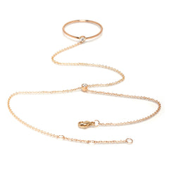 Zoë Chicco 14kt Yellow Gold White Diamond Ring Hand Chain