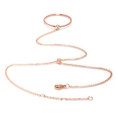 Zoë Chicco 14kt Rose Gold White Diamond Ring Hand Chain
