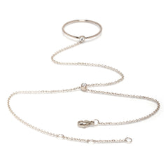 Zoë Chicco 14kt White Gold White Diamond Ring Hand Chain