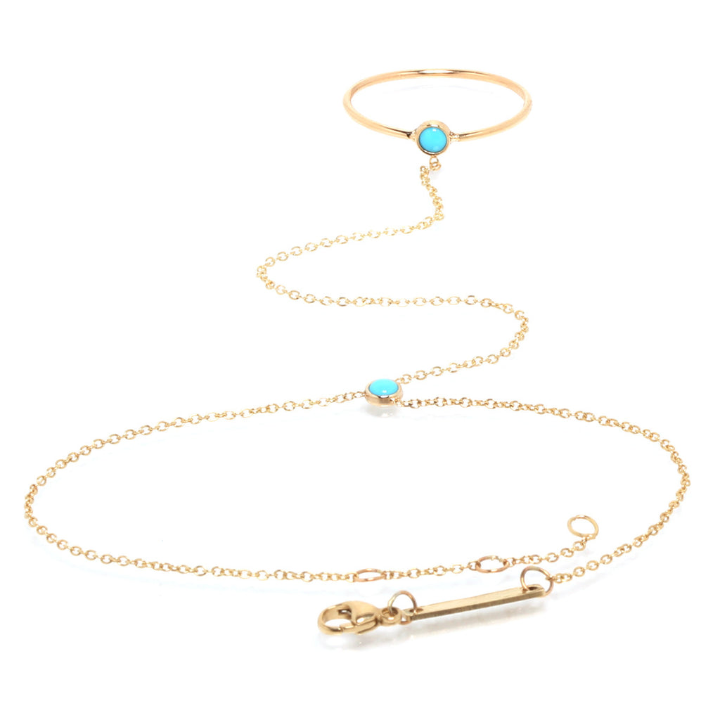 14k turquoise ring hand chain