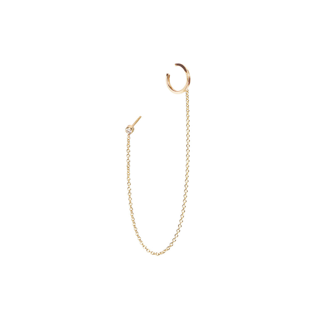 Zoë Chicco 14kt Yellow Gold White Diamond Chain Ear Cuff
