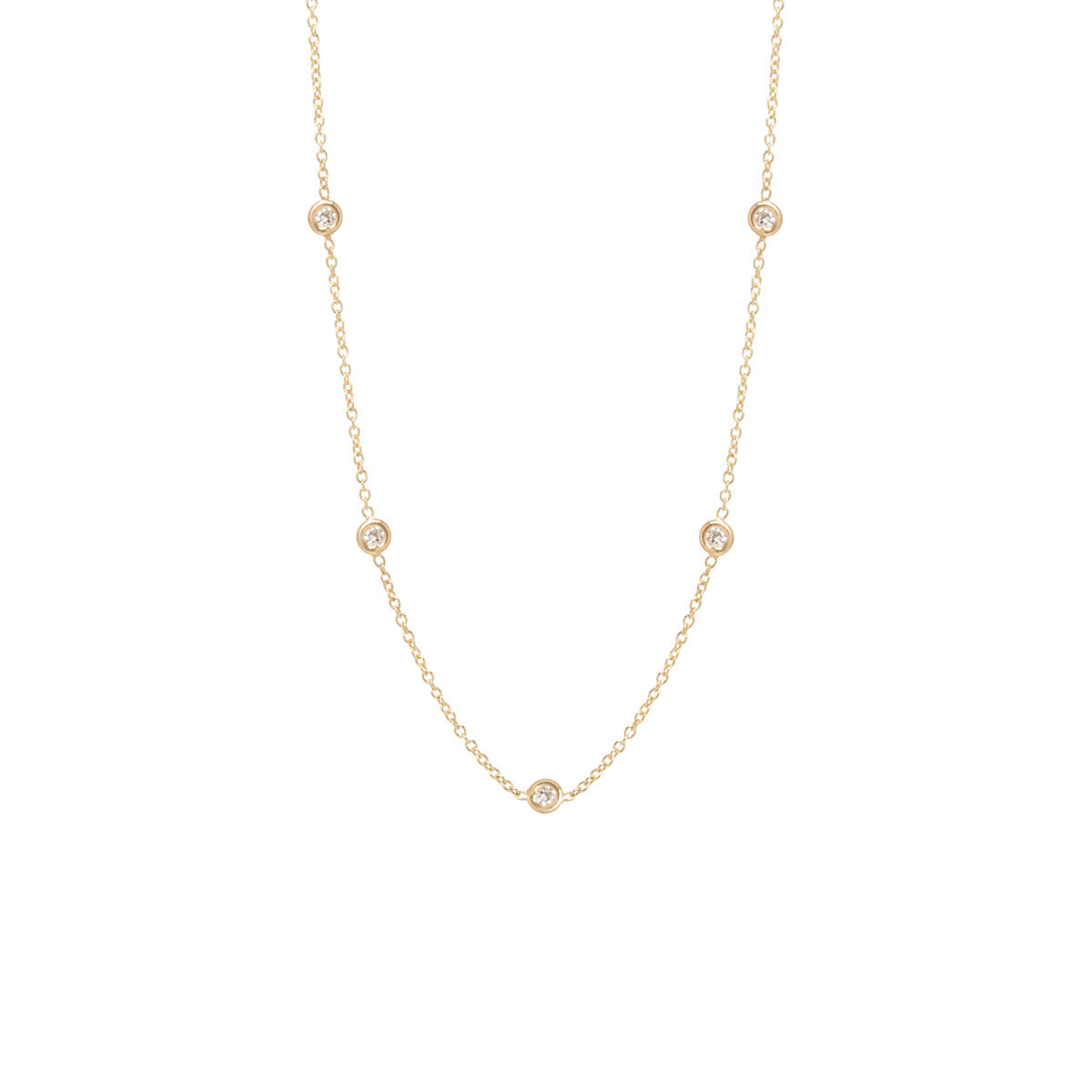 14k floating diamonds choker necklace
