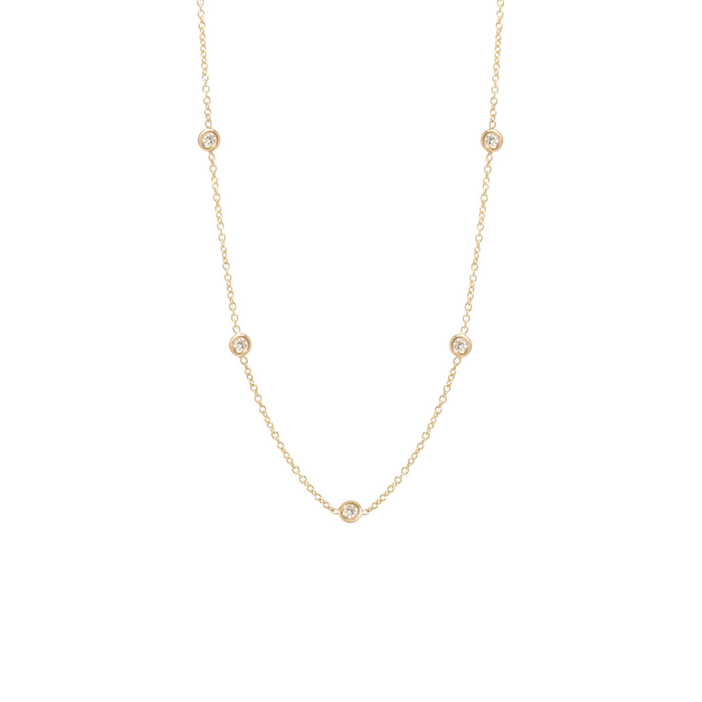 Zoë Chicco 14kt Yellow Gold Floating Diamonds Choker Necklace