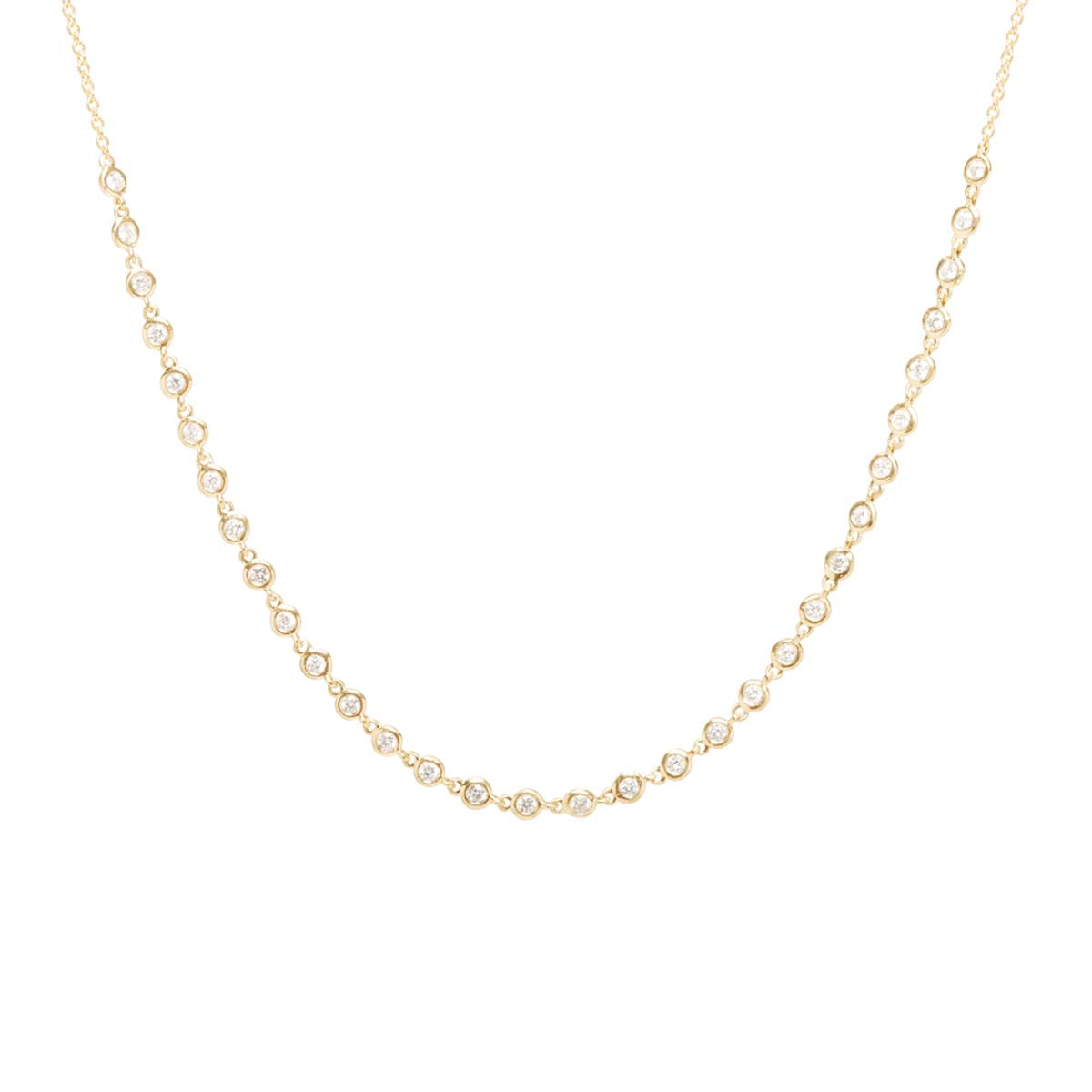 Zoë Chicco 14kt Yellow Gold White Diamond Tennis Choker Necklace
