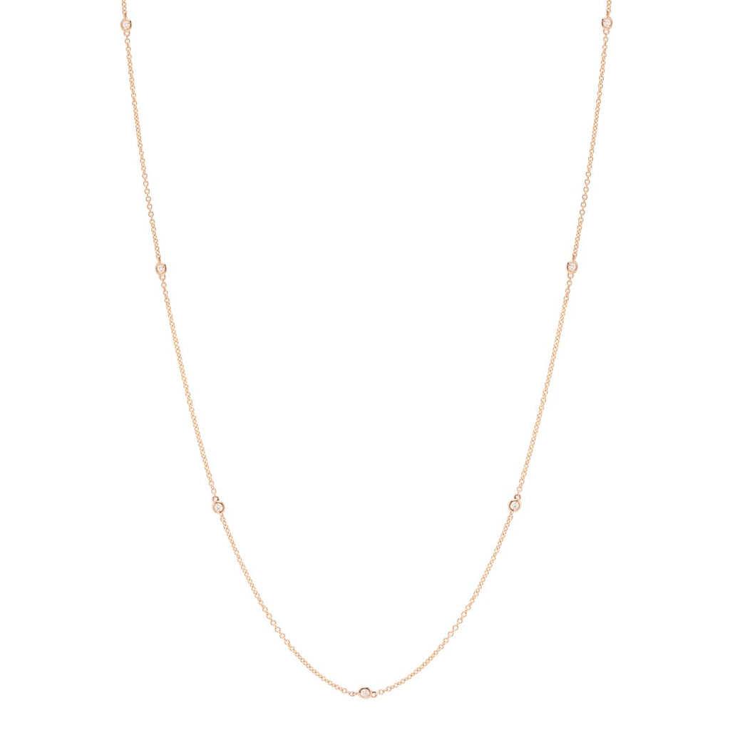 14k long floating diamonds necklace