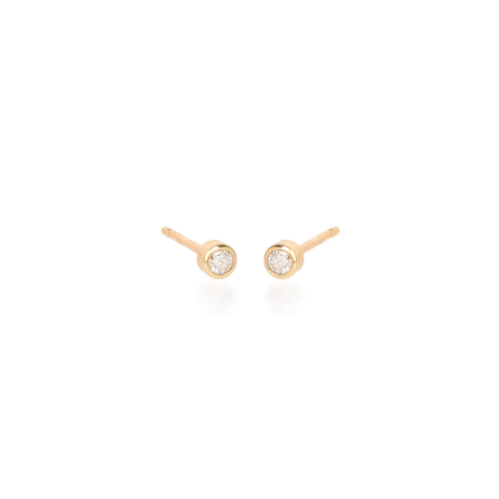 Zoë Chicco 14kt Yellow Gold Round White Diamond Studs