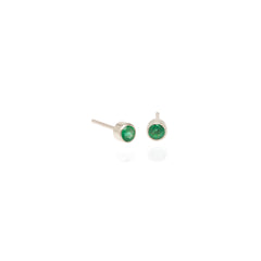 Zoë Chicco 14kt White Gold Bezel Set Emerald Stud Earrings