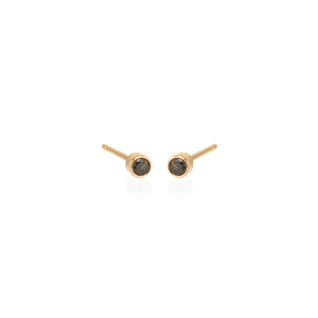 Zoë Chicco 14kt Yellow Gold Black Diamond Stud Earrings