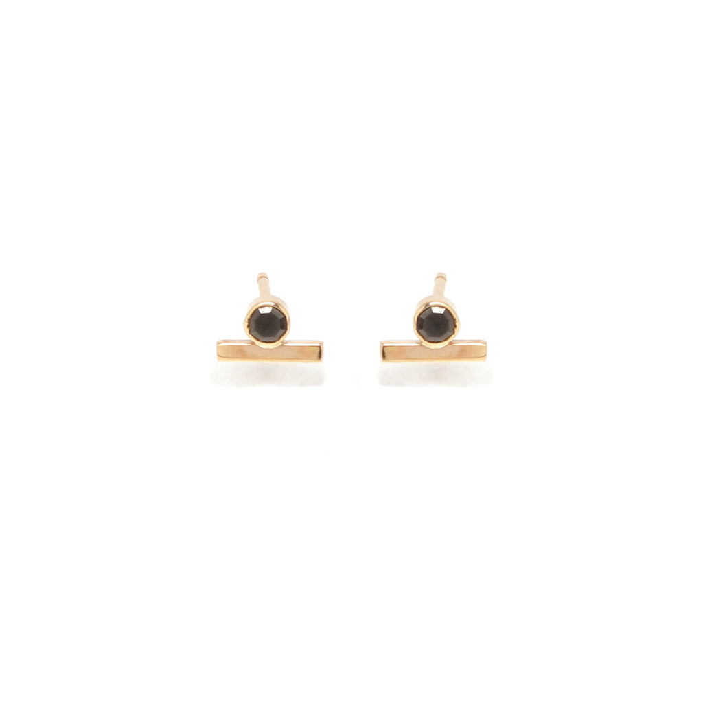 Zoë Chicco 14kt Yellow Gold Black Diamond and Gold Bar Stud Earring