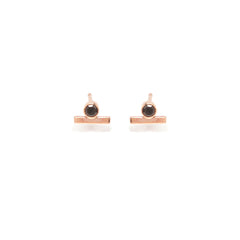 Zoë Chicco 14kt Rose Gold Black Diamond and Gold Bar Stud Earring