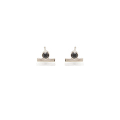 Zoë Chicco 14kt White Gold Black Diamond and Gold Bar Stud Earring