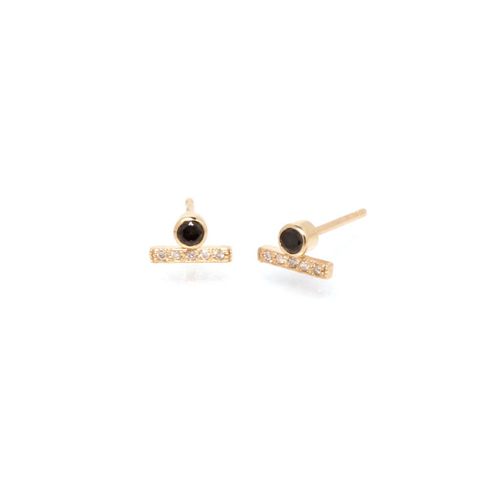 14k black diamond & pave bar studs