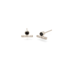 Zoë Chicco 14kt White Gold Black Diamond and White Diamond Pave Bar Stud Earrings