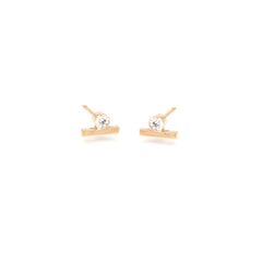 14k white diamond bar studs