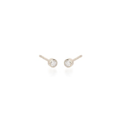 Zoë Chicco 14kt White Gold Round White Diamond Studs