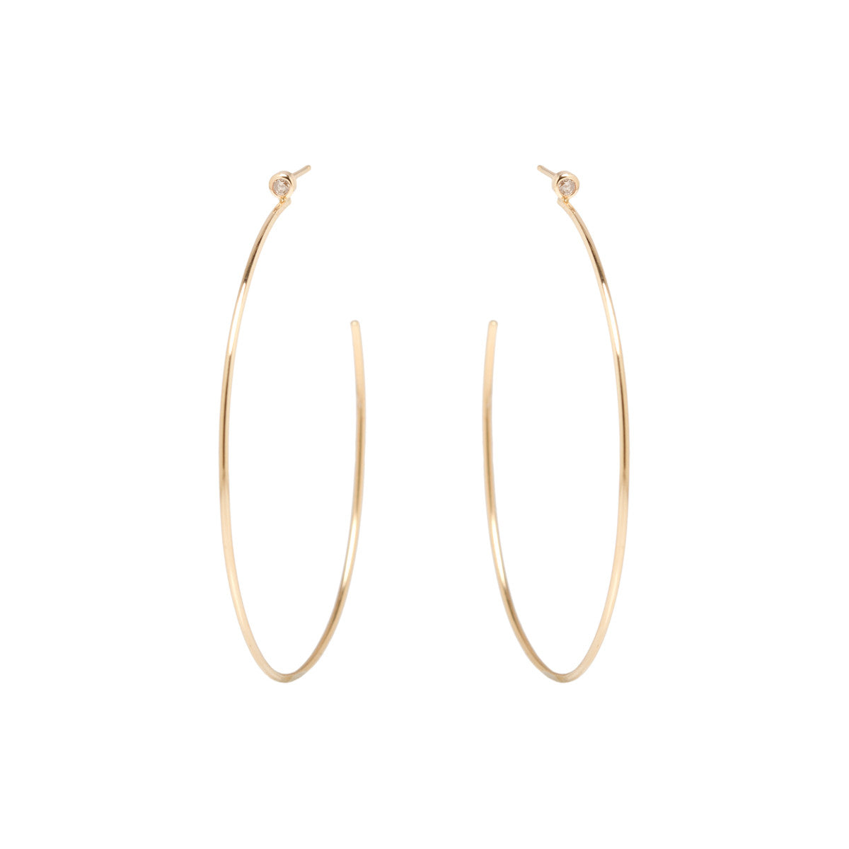 Zoë Chicco 14kt Yellow Gold Large Bezel Set White Diamond Stud Hoop Earrings