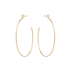 14k princess diamond stud hoops