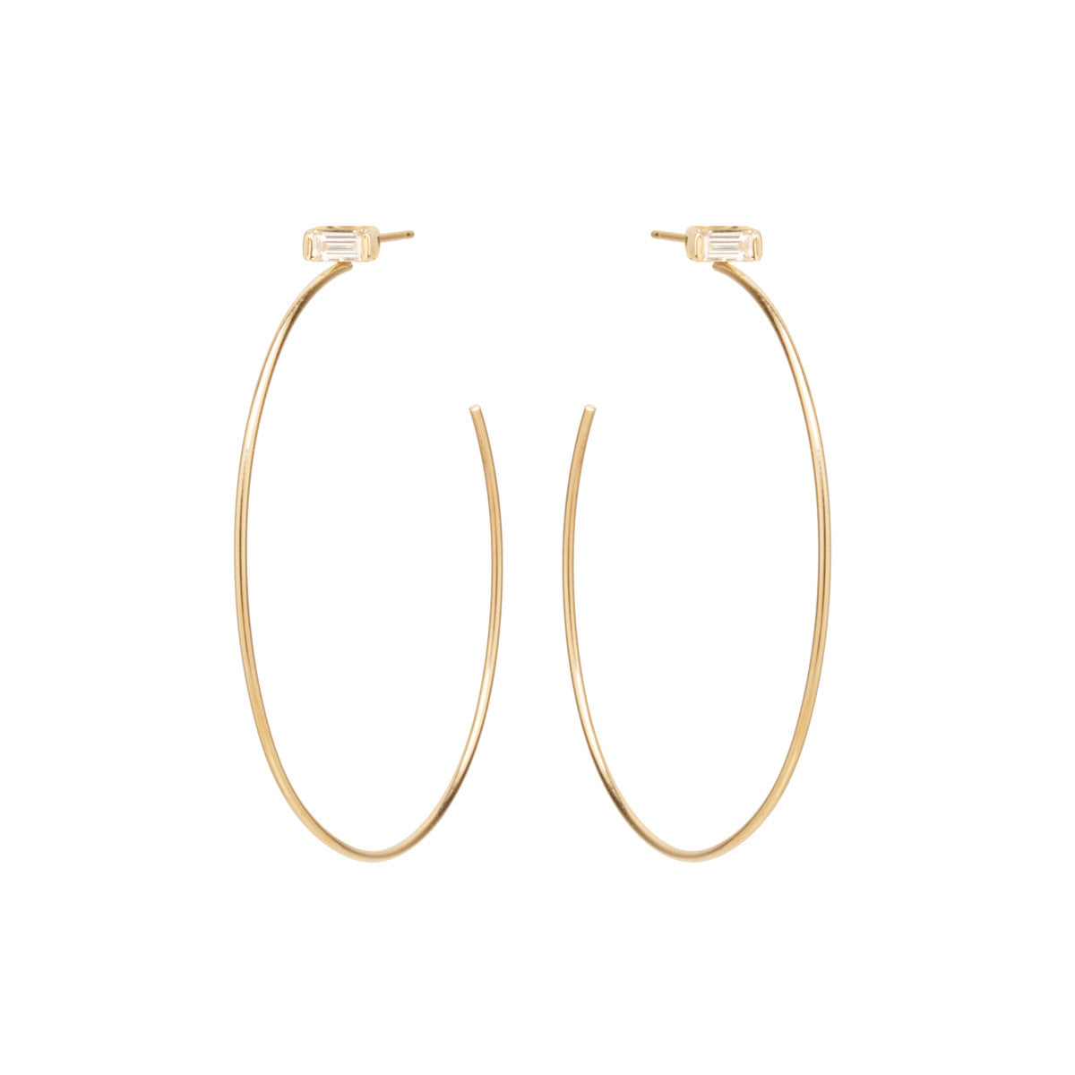 14k baguette diamond stud hoops