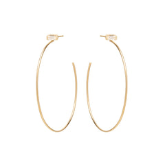Zoë Chicco 14kt Yellow Gold White Baguette Diamond Large Stud Hoop Earrings