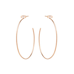 Zoë Chicco 14kt Rose Gold White Baguette Diamond Large Stud Hoop Earrings