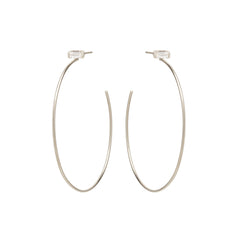 Zoë Chicco 14kt White Gold White Baguette Diamond Large Stud Hoop Earrings