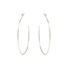 Zoë Chicco 14kt White Gold Large Bezel Set White Diamond Stud Hoop Earrings