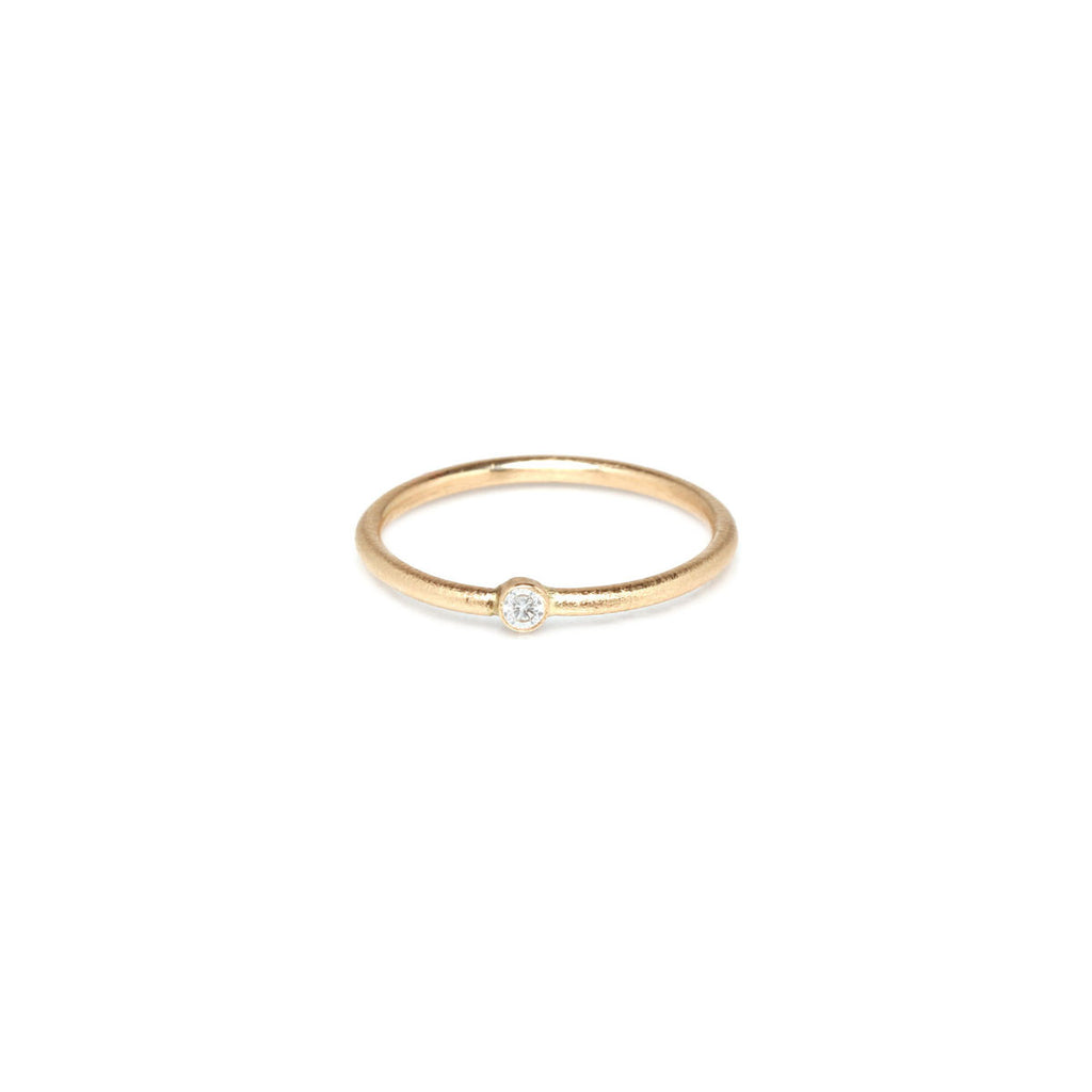 14k white diamond textured band