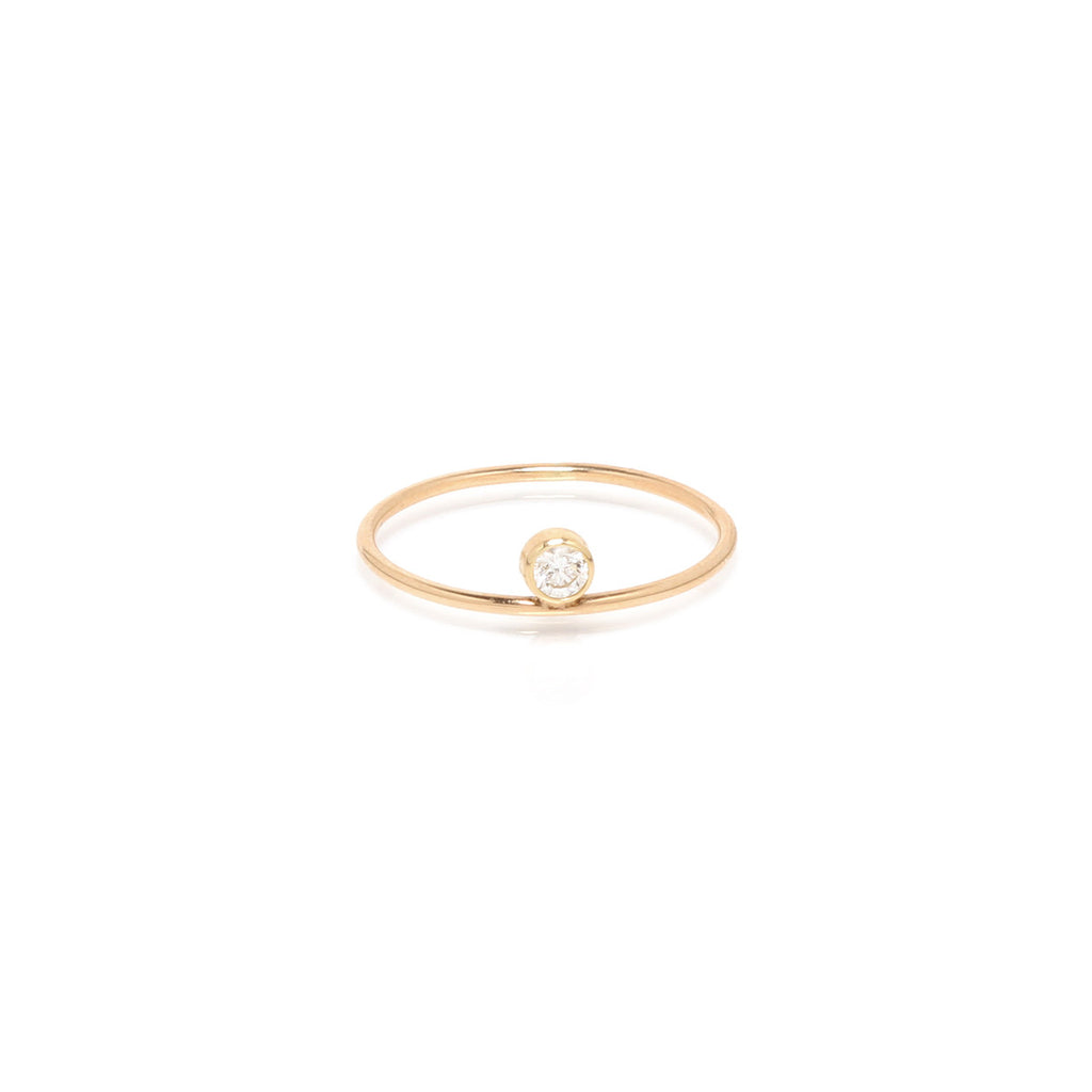 14k large floating bezel diamond ring