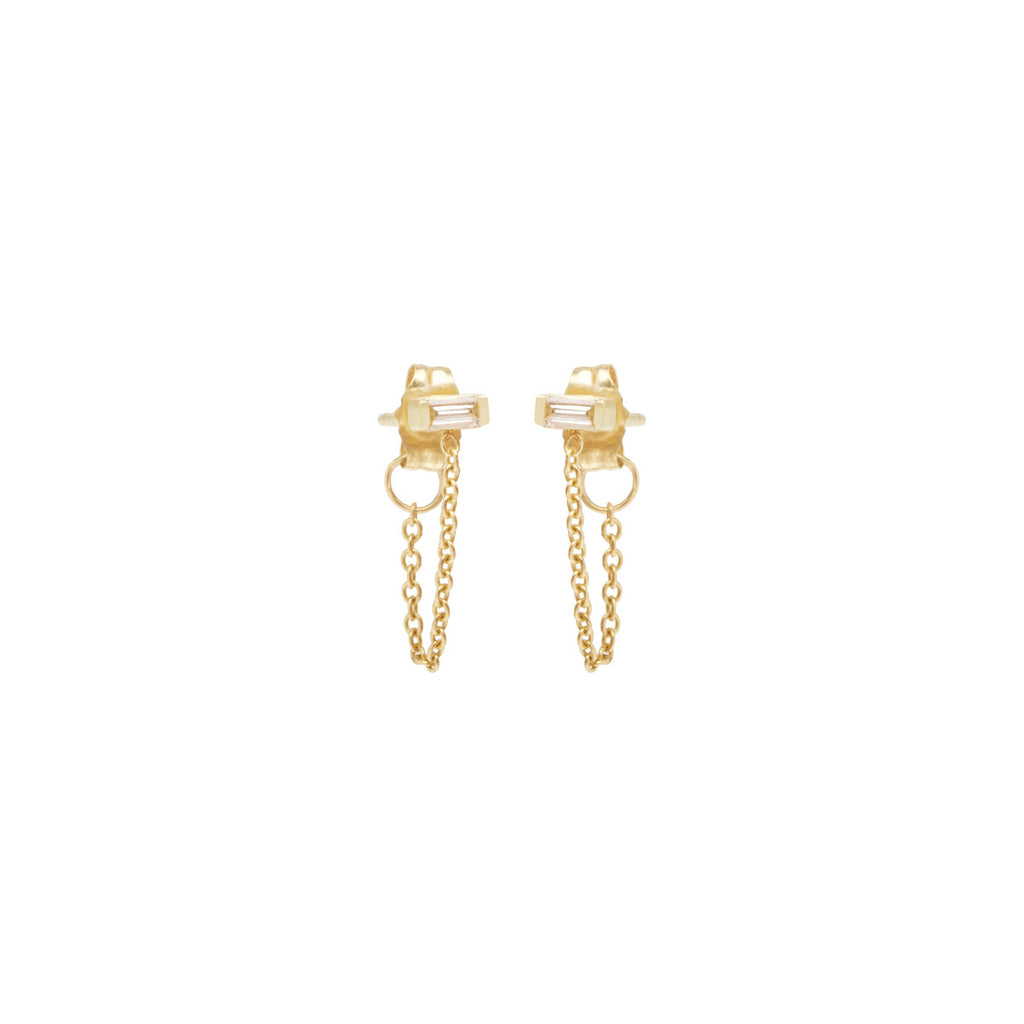 14k baguette diamond chain stud earrings