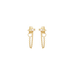 Zoë Chicco 14kt Yellow Gold White Baguette Diamond Chain Stud Earrings