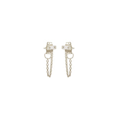 Zoë Chicco 14kt White Gold White Baguette Diamond Chain Stud Earrings