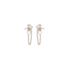14k princess diamond chain stud earrings