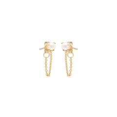 14k pearl chain stud earrings