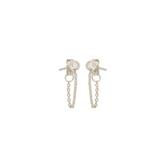 Zoë Chicco 14kt White Gold White Diamond Bezel Chain Stud Earrings