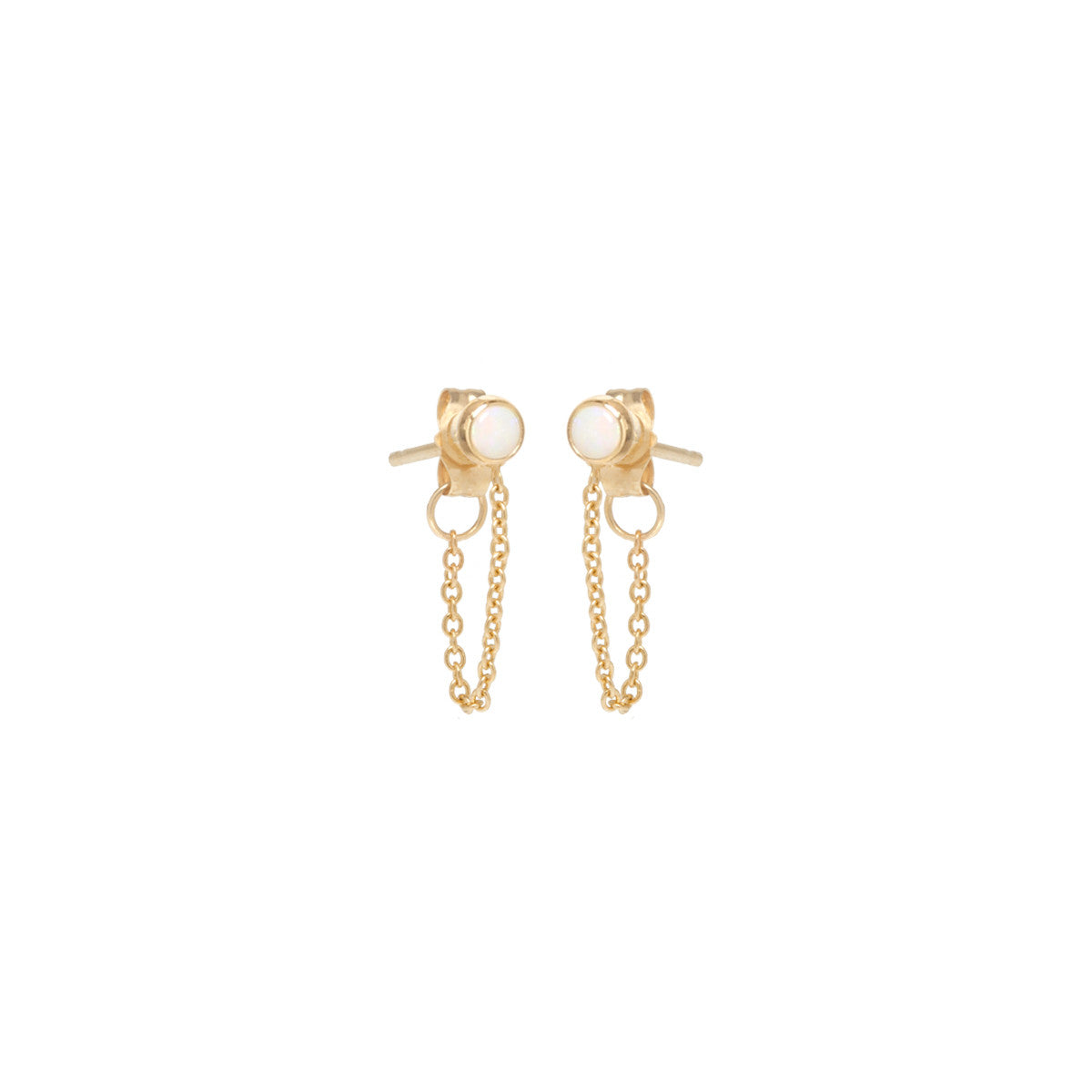 14k opal bezel chain stud earrings