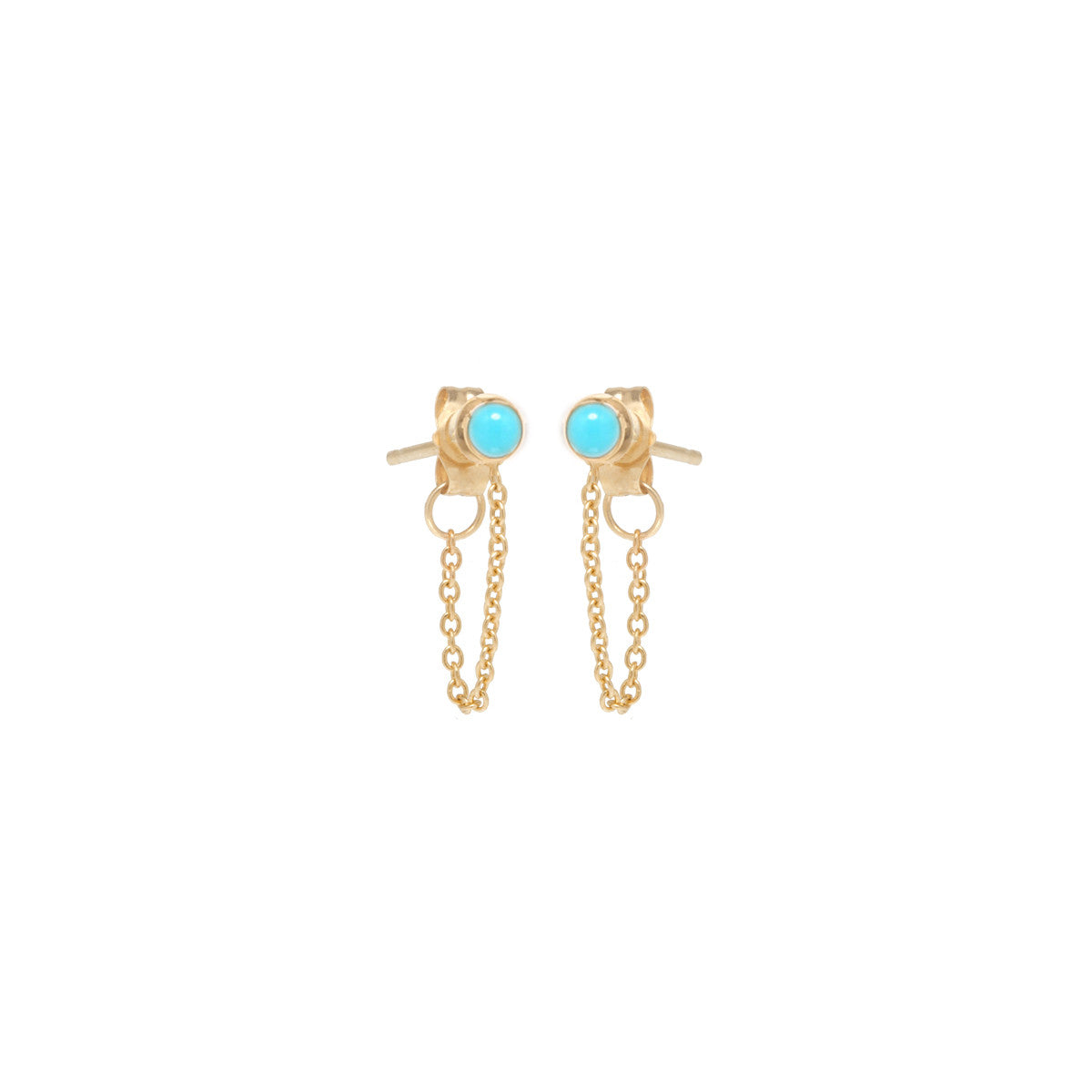 14k turquoise bezel chain stud earrings