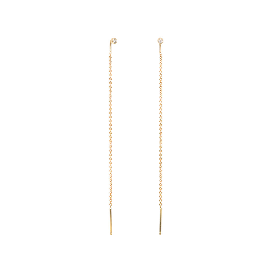 14K white diamond threader earrings