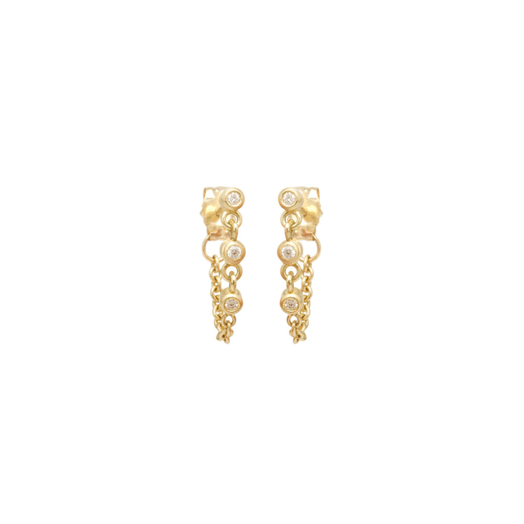 14k eternity bezel diamond chain stud earrings