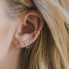 14k baguette diamond double ear cuff