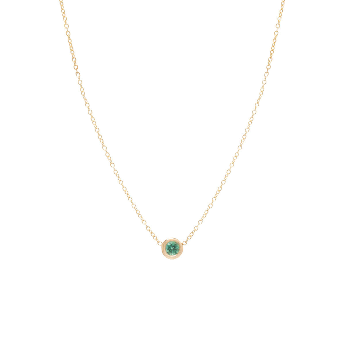 14k single emerald choker necklace