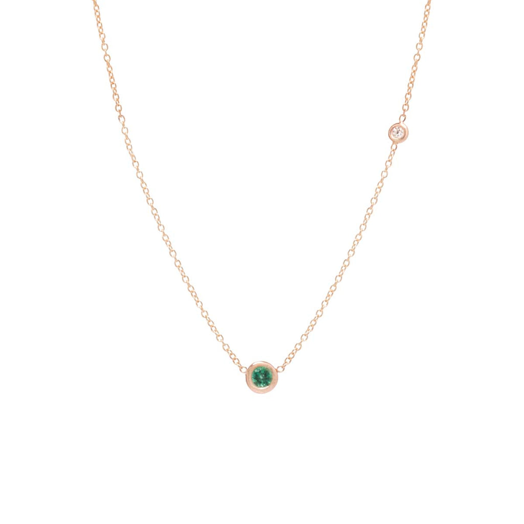 Zoë Chicco 14kt Yellow Gold Emerald and Floating Diamond Choker Necklace