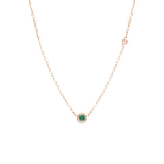 Zoë Chicco 14kt Rose Gold Emerald and Floating Diamond Choker Necklace