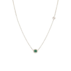 Zoë Chicco 14kt White Gold Emerald and Floating Diamond Choker Necklace