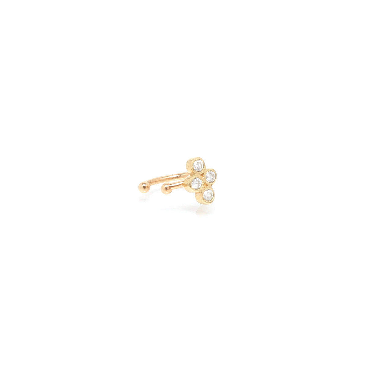 14k small quad diamond ear cuff