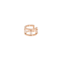 Zoë Chicco 14kt Rose Gold White Baguette Diamond Double Ear Cuff