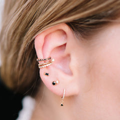 14k bezel black diamond ear cuff