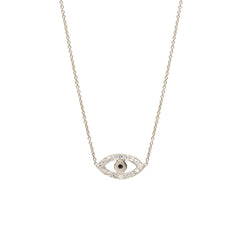 14k mixed pave evil eye necklace