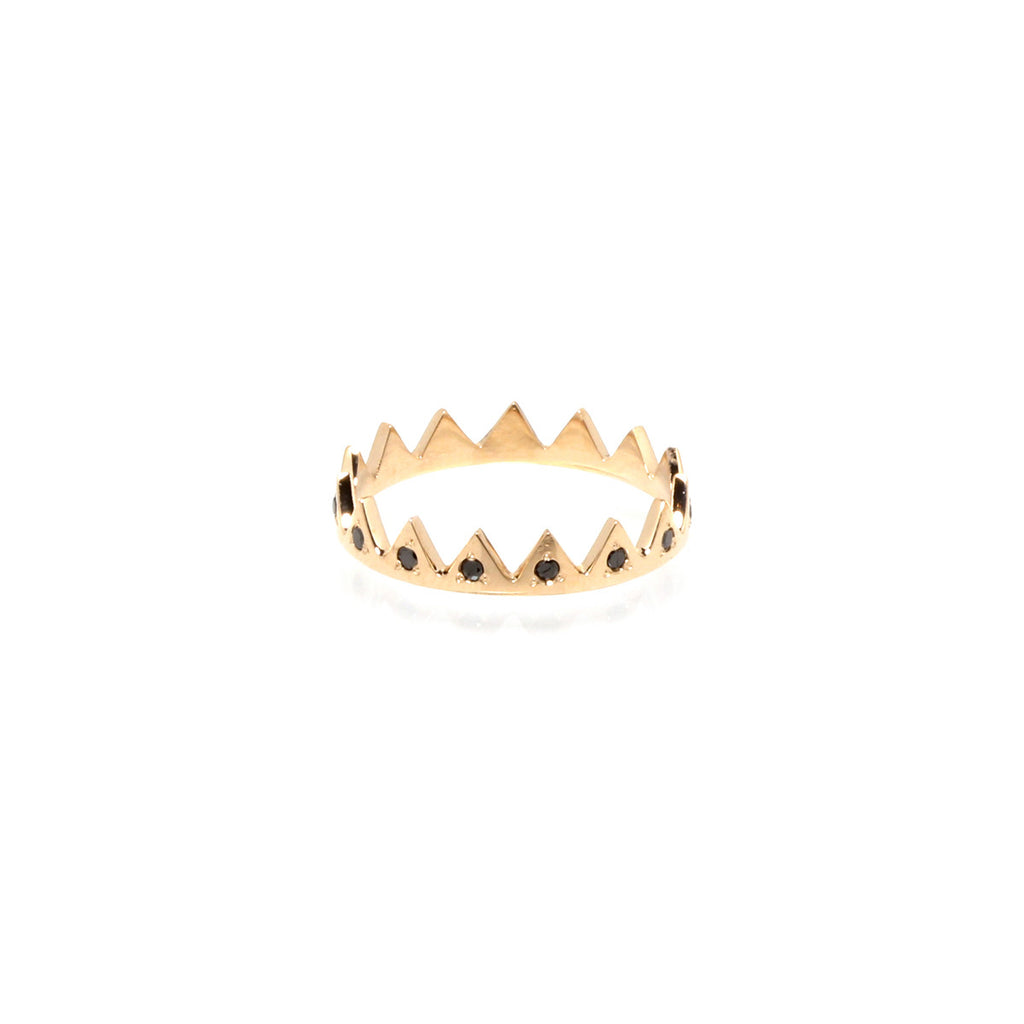 14k black diamond crown ring